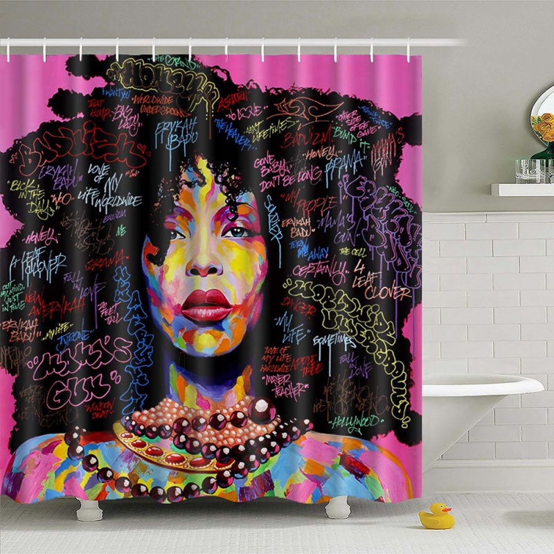 Curtain Hanging Different Custom Waterproof Bathroom African Woman Shower Curtain Polyester Fabric Bathroom Curtain