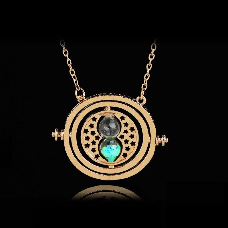 Vintage Creative 360 Degree Rotatable Horcrux Harri Potter Time Converter Hourglass Pendant Necklace time turner For