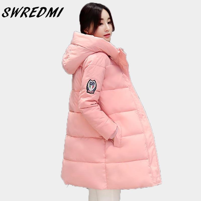 SWREDMI White Winter Coat Women 2018 Hot Sale Long   Parka   Fashion Students Slim Female Clothing Plus Size S-2XL Thick Jackets
