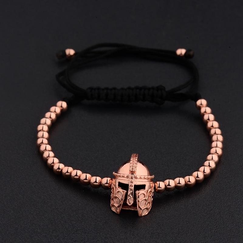 New Design Black CZ Stainless Steel Beads Braiding Buddha Bracelet Spartan Helmet Charm Bracelets For Women/Men Jewelry AB1016 4
