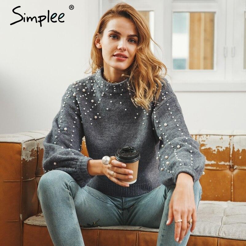 Simplee perla cuello alto invierno suéter tejido mujer linterna manga suelta gris pulóver mujer suave cálido otoño casual jumper