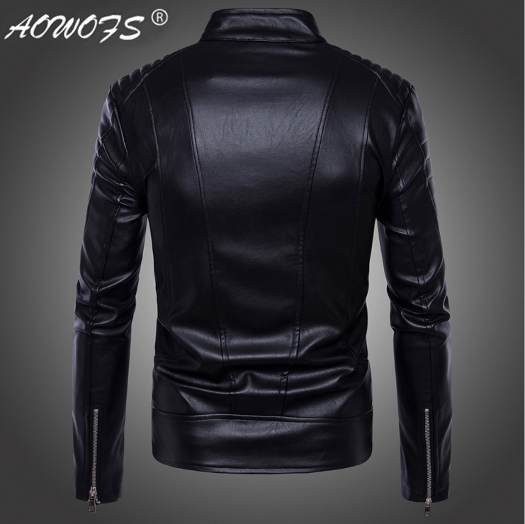 2449f5bbc71d AOWOFS Newest British Motorcycle Leather Jacket Men Classic Design ...