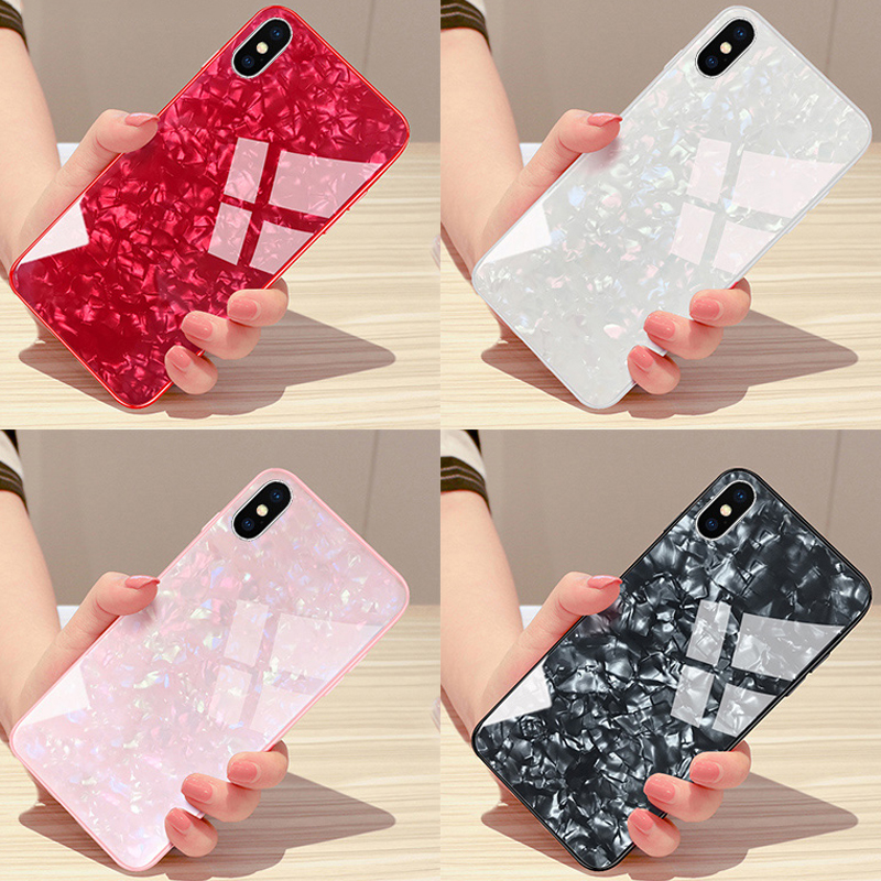 Kerzzil Shining Glossy Dream Tempered Glass Case For iPhone X XR XS Max Soft Silicone + Hard Cover For iPhone 7 8 6 6s Plus Back iphone 6 plus kılıf