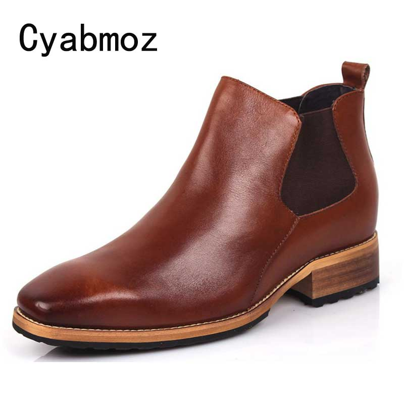 цены Cyabmoz Luxury Height Increase 7cm Mens Dress Boots Genuine Leather High Quality Ankle Boots Men Shoes For Business Wedding Boot