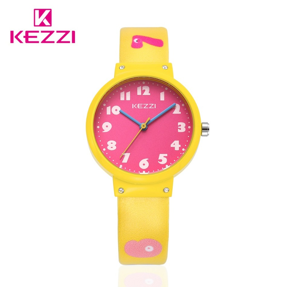 The Newest release Children s Day Brand KEZZI Cute Number Cartoon Watches Candy Color Quartz Watch