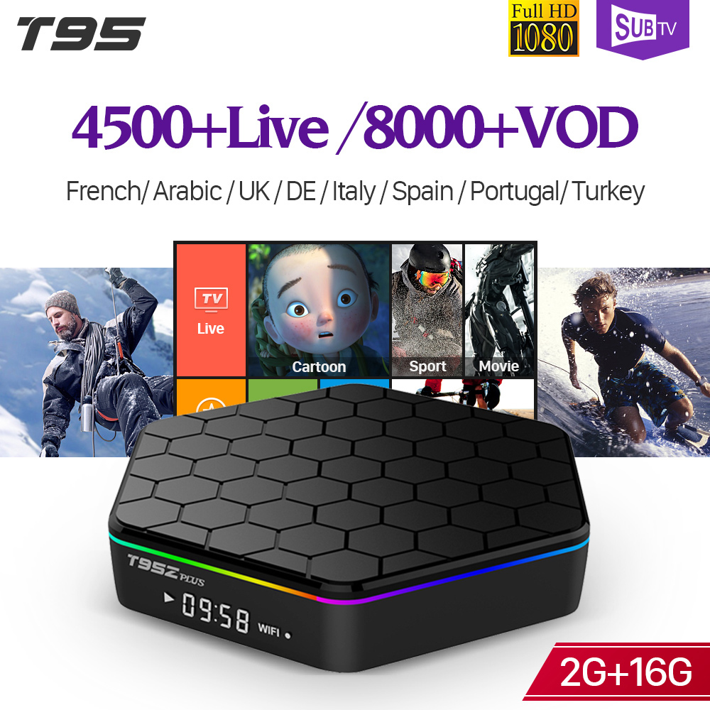 SUBTV IPTV 1 an Android Box français arabe T95Z Plus S912 double bande WiFi Support BT Portugal turquie Italia IPTV abonnement