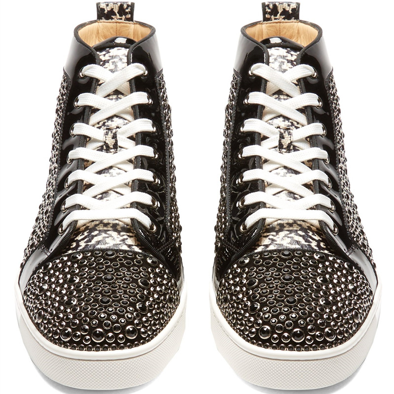 Qianruiti 2018 Newest Men Strass Shoes Patchwork Rhinestone Sneaker Lace up  Flat High Top Men Camping Shoes Plus Size 39 47-in Men s Vulcanize Shoes  from ... ea7e147fa109