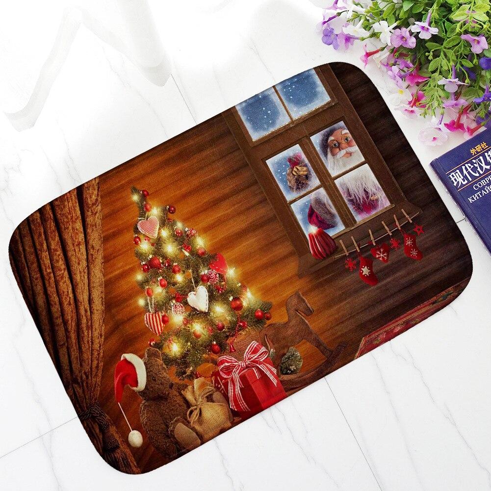 Winter Snowman Father Christmas New Year Welcome Doormat Outdoor Front Entrance Door Mats Holiday Decoration Floor Carpet