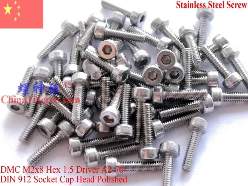 Stainless Steel sekrup M2x8 DIN 912 A2-70 Dipoles ROHS 100 pcs