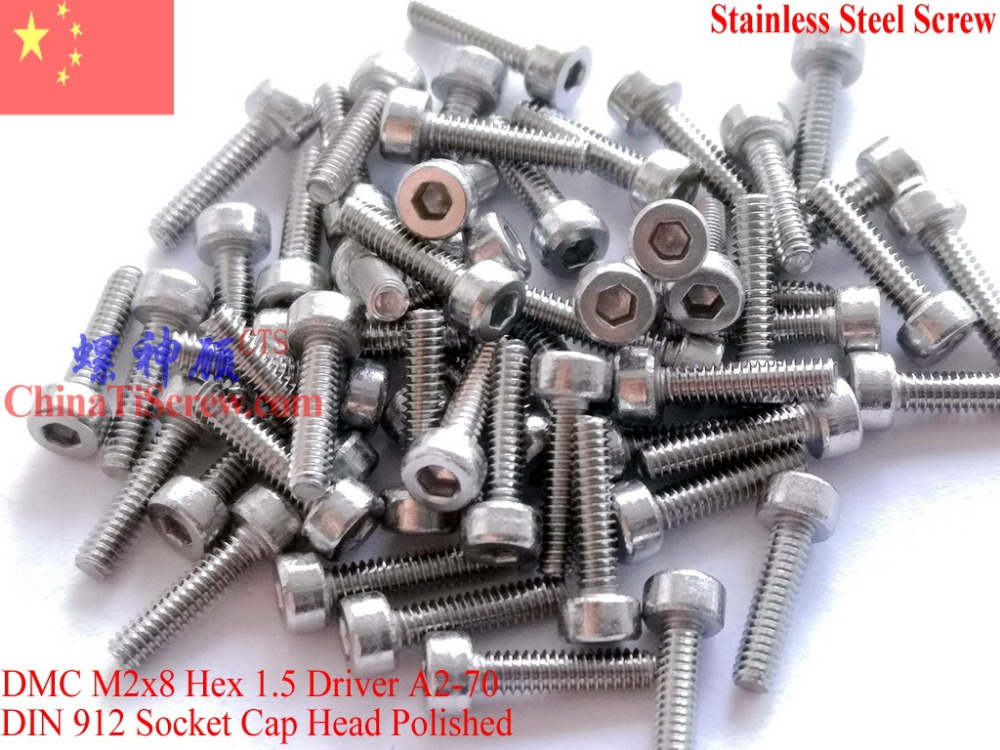 Stainless Steel screws M2x8 DIN 912 A2-70 Polished ROHS 100 pcs polished stainless steel ice utility tong 30cm length