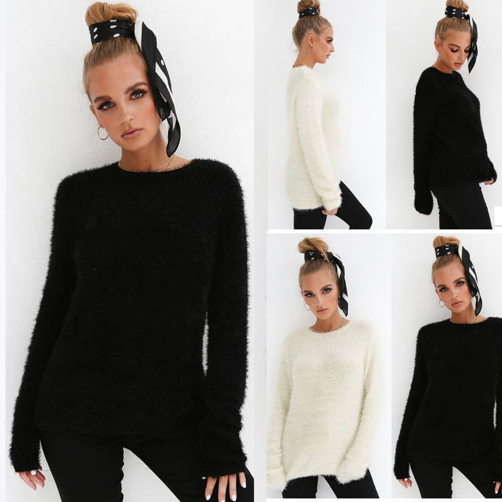 Women Sweaters and pullovers Pure Mink Cashmere Knitted Pullover ladies sweatshirt Top Cardigan