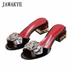 Шлепанцы с открытым носком, украшенные стразами и бантом, женская кожаная обувь на толстом квадратном каблуке, новая модная летняя женская