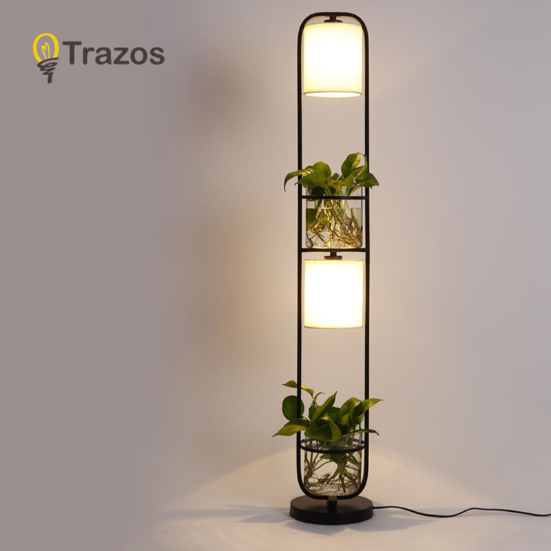 TRAZOS Modern White Black Floor Lamp With Fabric Lampshade For Living Room Bedroom Bedside E27 Hotel Cloth Standing Light modern wood table floor lamp living room bedroom study standing lamps fabric decor home lights wooden floor standing lights