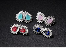 Hot Sales Girl Jewelry With 4 Color Oval Multicolor Cubic Zircon Earrings For Women And Ladies Stud earrings