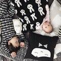 Cobertor do bebê recém-nascido de lã preto branco cruz coelho para sofá cama Cobertores Mantas cobertor bebe jogar Mat Baby gavetas Blanket newbornfotografiacamabettwäscheropade bañocobertor bebêpościel