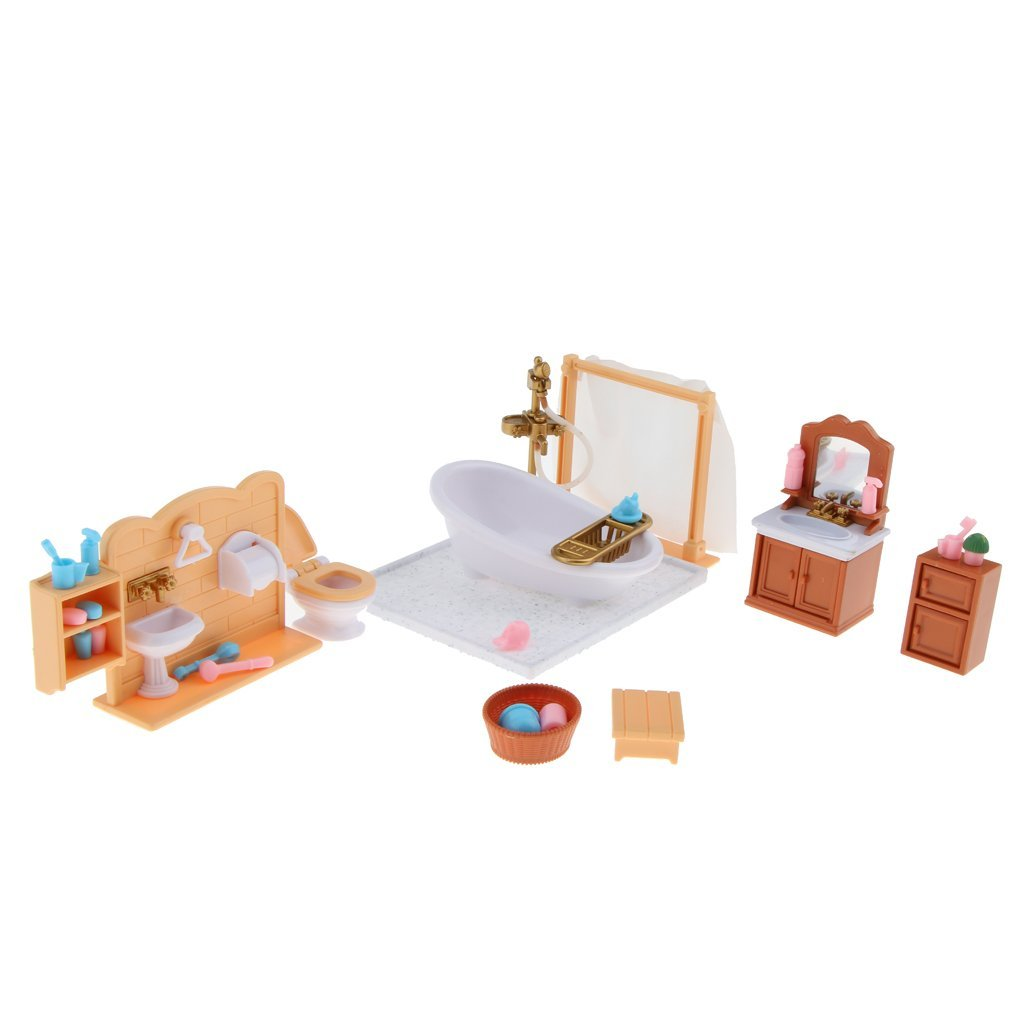Plastic Bathtub Toilet Miniature Doll House Furniture Toy Set Bathroom Decor
