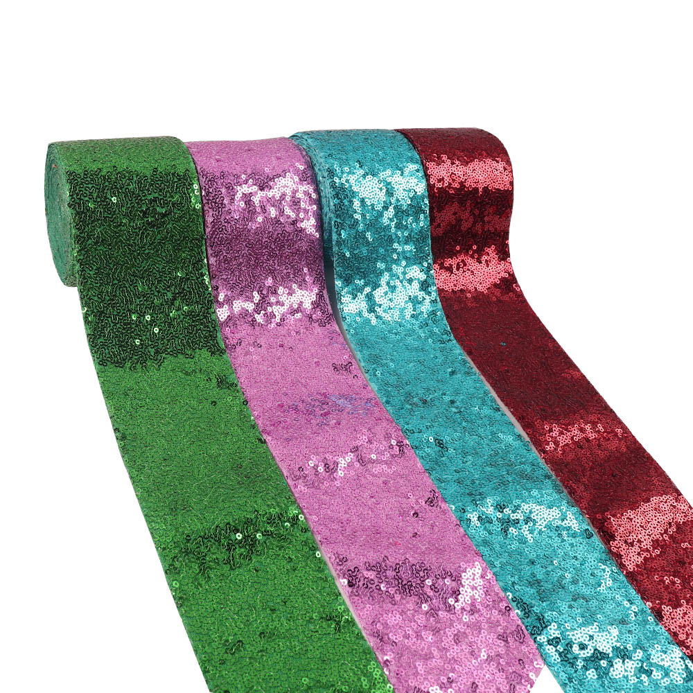 Wholesale 50Y 75mm Sequin Ribbon Solid Color Ribbon Laser Sequin For DIY Hair Bows Party Clothes Decoration Sewing Accessories-in Ribbons from Home & Garden    2