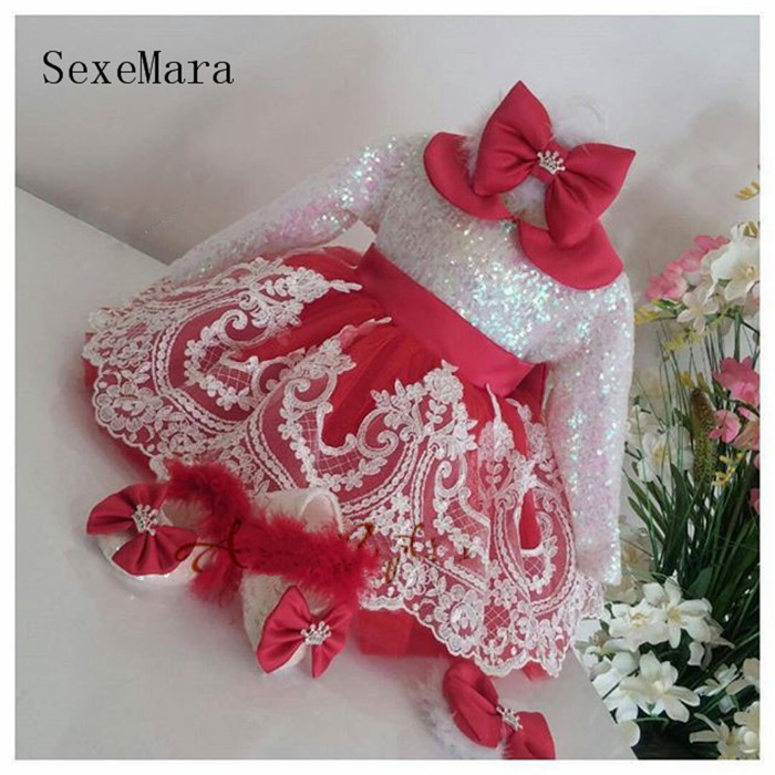 Sparkly Baby Girls Birthday Dress Long Sleeves Lace Appliques Squins Red Ball Gown Girl Christmas Toddler Pageant OutfitsSparkly Baby Girls Birthday Dress Long Sleeves Lace Appliques Squins Red Ball Gown Girl Christmas Toddler Pageant Outfits