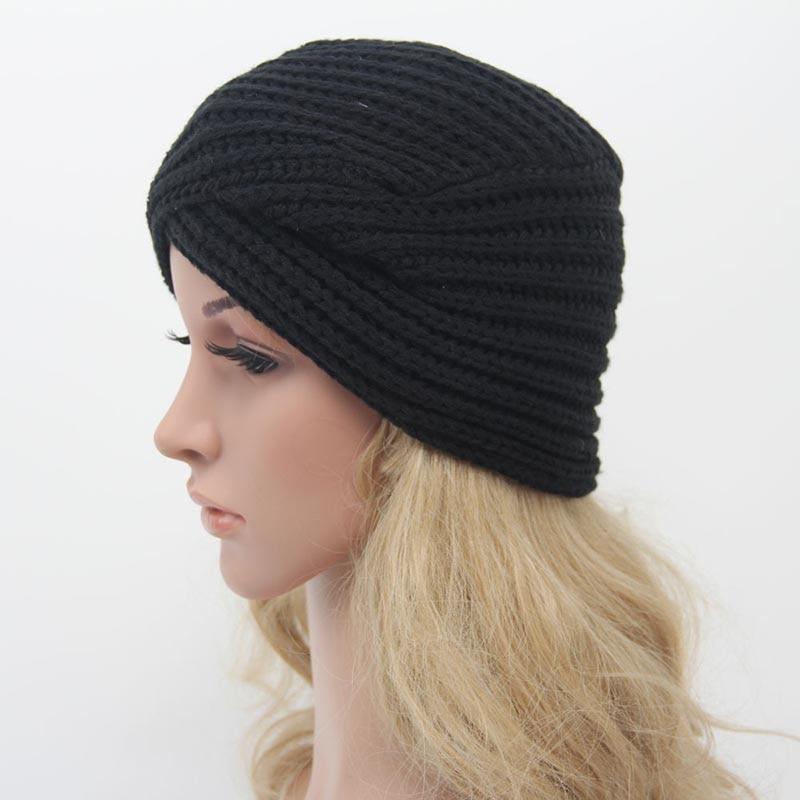 ... New Knitted Winter Hat Women Felt Hat Ladies Turban Head Wrap Caps Ear  Warmer Cross India ... 92e01caad103