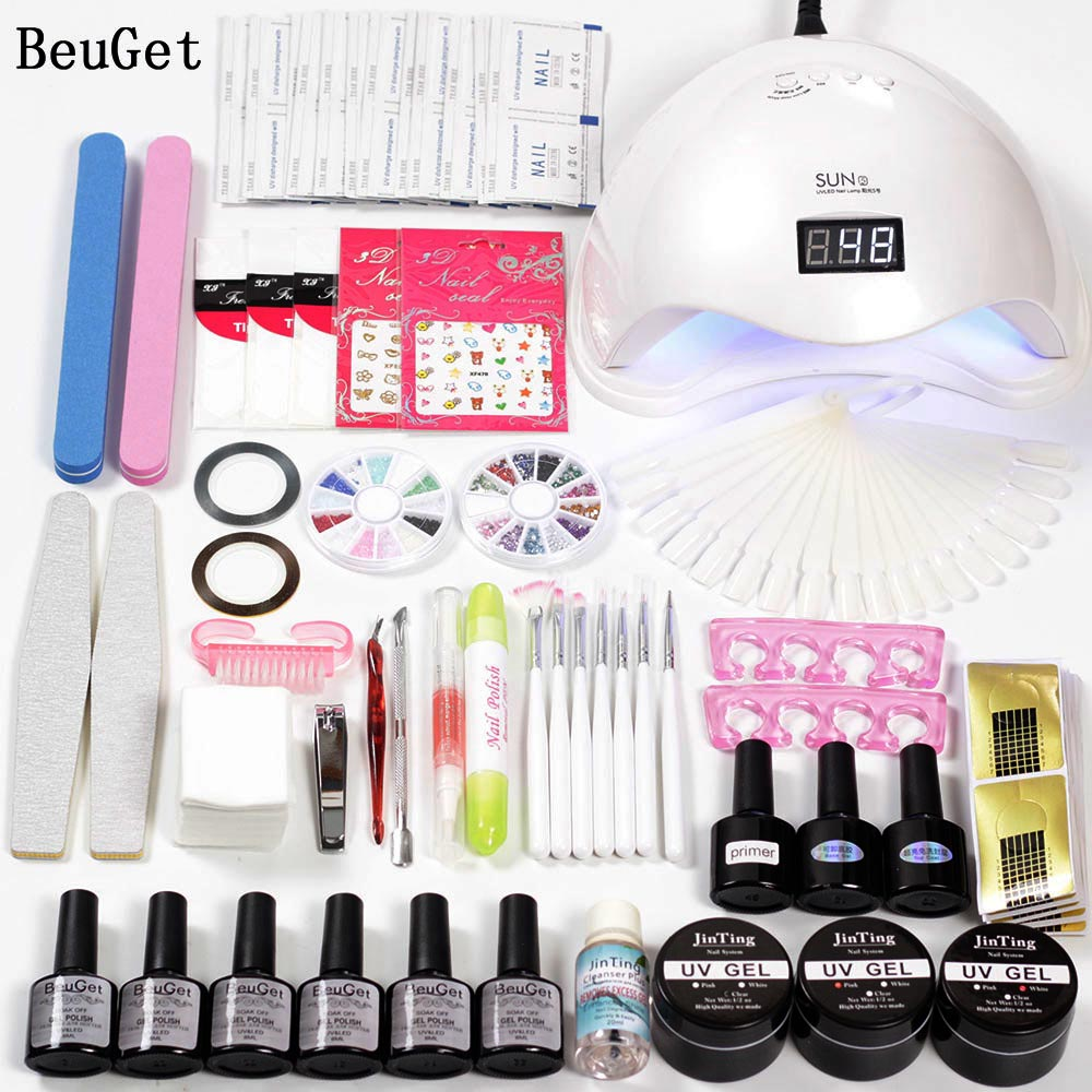 Nail Art Tools Uv Gel Kits with Lamp 6w/48w Led Curing Nail Polish 6 Color Base and Top Set for Manicure Varnish Gel