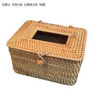 High-end Car Tissue Boxes 12.5*12*9.5CM CHAYUANCHUANSHI  DIY Vietnam Qiuteng Weave Bathroom Home Napkin Box Holder Cover