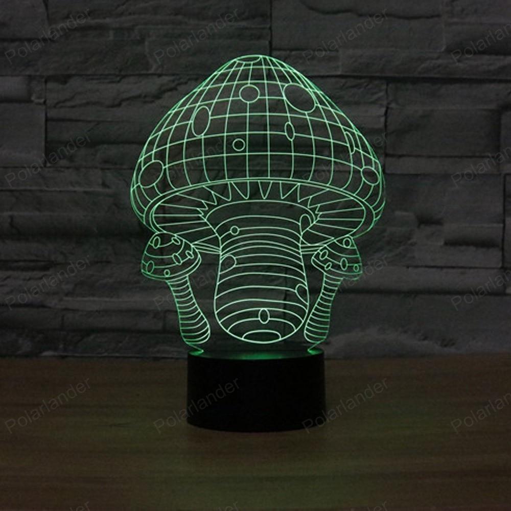 Beste prijs paddestoel 1 3D Licht illusion Creative LED lamp met ...