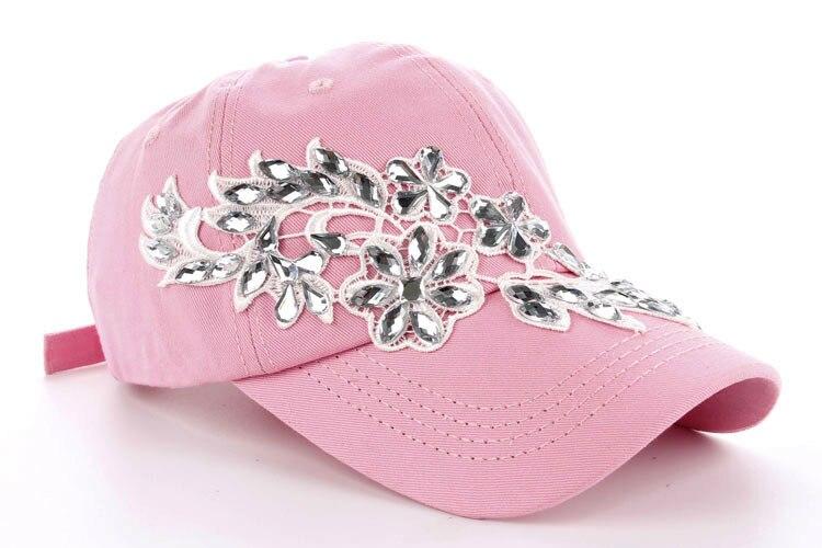 Высокое качество оптом и в розницу JoyMay шляпа Кепки Мода Досуг Стразы х/б джинсы колпачки в цветочном стиле летние Бейсбол Кепки B232 - Цвет: Pink