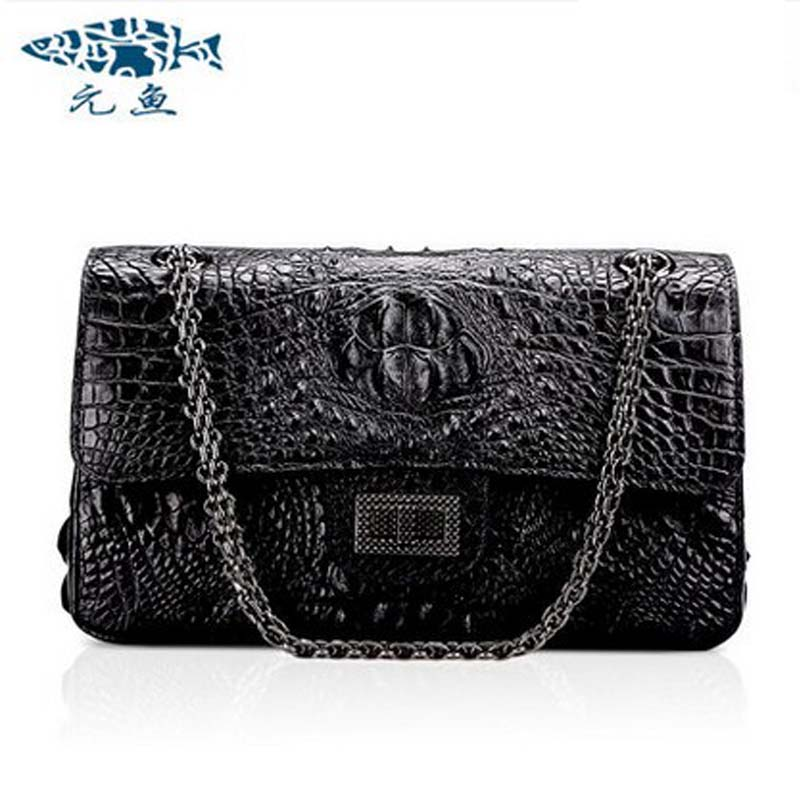 yuanyu 2018 new hot free shipping Thailand real alligator leather bag single shoulder bag leather bag fashion women chain bag yuanyu real snake skin women bag new decorative pattern women chain bag fashion inclined single shoulder women bag