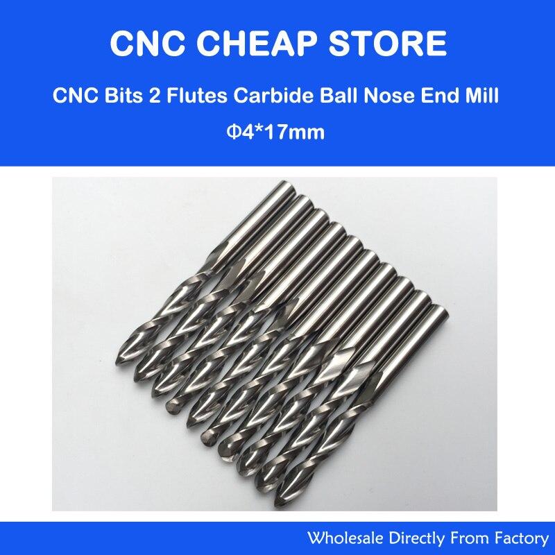 10pcs 4mm shank Single Flute Carbite spiral End Mill Cutter CNC Bit 17mm CEL