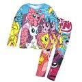 Детская одежда мода 2016 осень мультфильм девочек одежда с длинными рукавами Пижамы костюм 2 шт. пижамы малыша девушки детей одежда