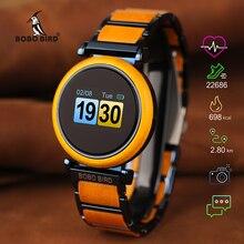 בובו ציפור מגע מסך אלקטרוני תנועת שעון עץ יוקרה שעוני יד גברים חכם שעון Relogio Masculino J R27