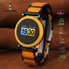 ボボ鳥タッチスクリーン電子ムーブメント腕時計ウッド高級腕時計男性スマート時計レロジオ Masculino J R27