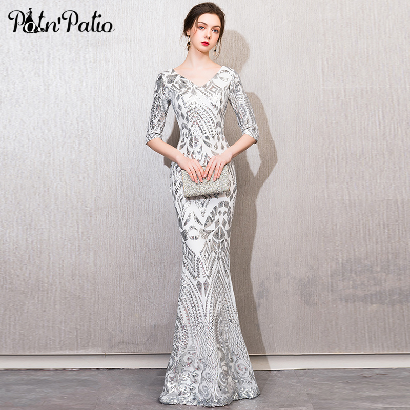 Sexy Silver Sequin Mermaid Evening Dress For Women Half-sleeve V-neck Floor-length Long Formal Gowns Sexy Evening Party Dresses