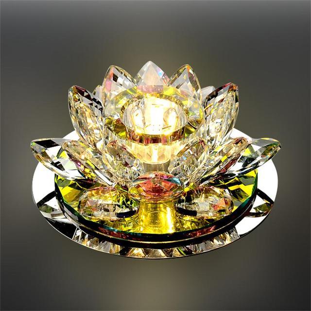 LAIMAIK Crystal LED Ceiling Light 3W AC90-260V Modern LED Crystal Lamp Aisle Light Lamp Hall Lighting Pumpkin Lotus Lights