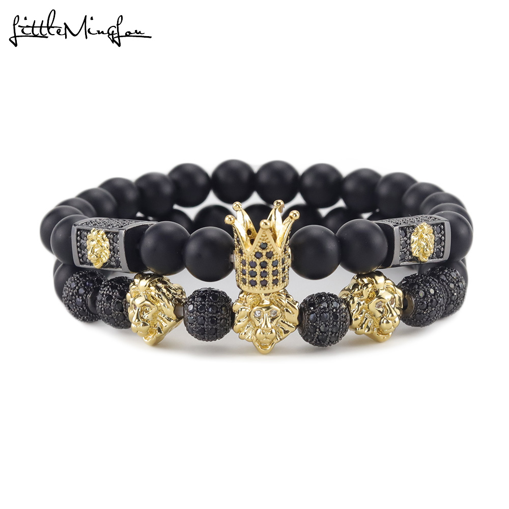 Luxury crown Bracelet Pave Cubic Zirconia ball gold color lion head charms stone beads men Bracelets bangles for men jewelry in Charm Bracelets from Jewelry Accessories