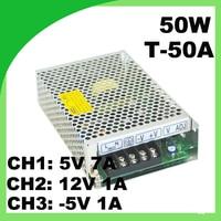 Mini alimentation avec triple sortie de commutation 5 V 7A, 12 V 1A,-5 V 1A ac à dc T-50A alimentation