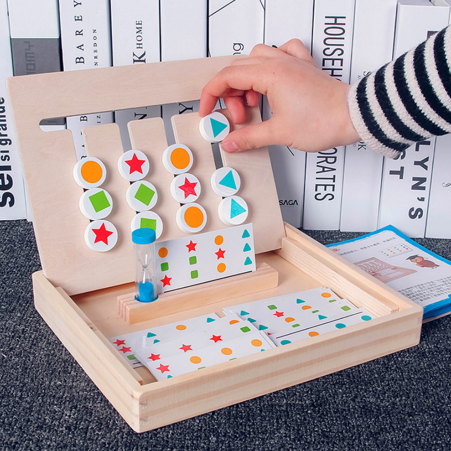 Kids Baby Montessori Wooden Color Shape Matching Cognition Board Logical Reasoning Training Learning Box Early Educational Toys
