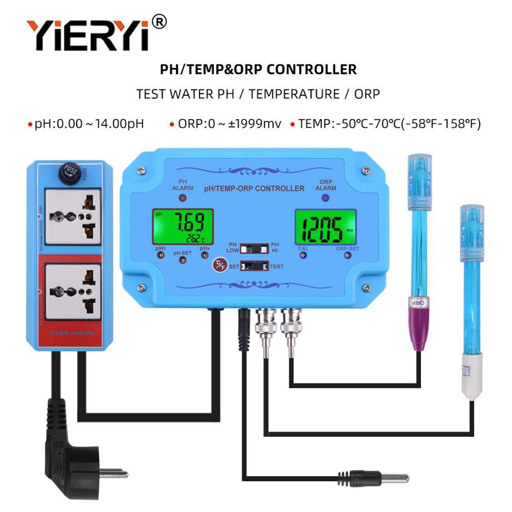 Yieryi 3 em 1 pH/TEMP/ORP Controlador de Qualidade Da Água Detector Tipo BNC Probe Tester Qualidade Da Água para monitor de aquário