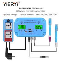 yieryi 3 in 1 pH/TEMP/ORP Controller Water Quality Detector BNC Type Probe Water Quality Tester for Aquarium Monitor