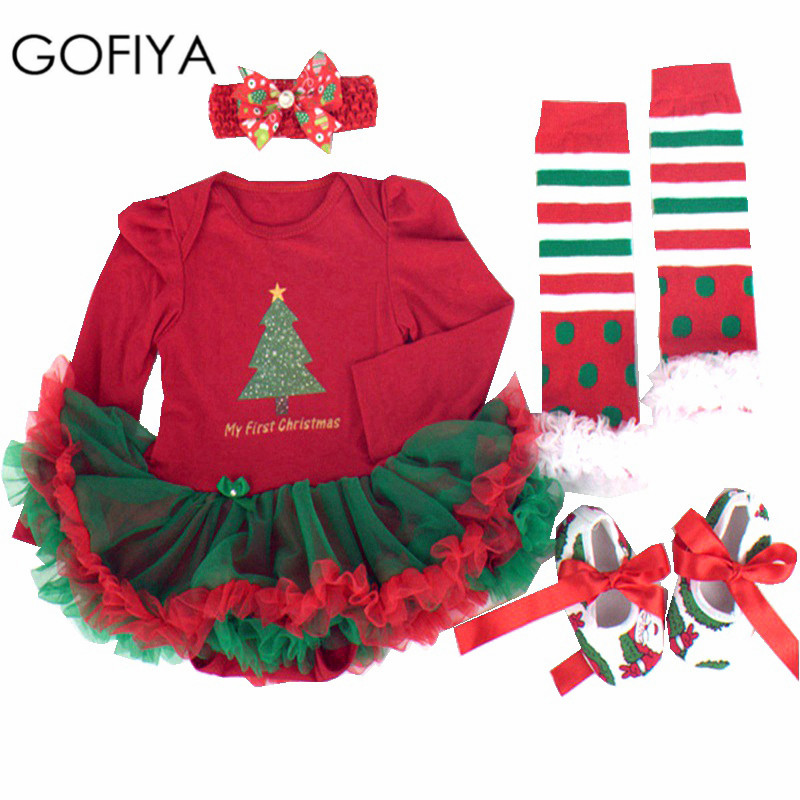 New Newborn Baby Girl Infant Clothing Christmas 2017 Tutu Romper Dress / Jumpsuit+Headband+Shoes Xmas Gift Bebe Birthday Clothes baby girl infant 3pcs clothing sets tutu romper dress jumpersuit one or two yrs old bebe party birthday suit costumes vestidos