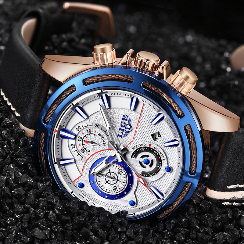 все цены на LIGE Men Watches Top Brand Luxury Quartz Gold Watch Male Casual Leather Military Waterproof Sport Wrist watch Relogio Masculino