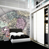 Children S Wallpaper 1870 Boston Map Retro Photo Murals For Children S Rooms Study Living Room