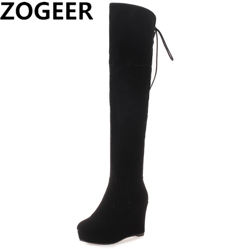 Plus Size 43 Classic Wedges Thigh High Boots Women Winter Boots Black Over The Knee High
