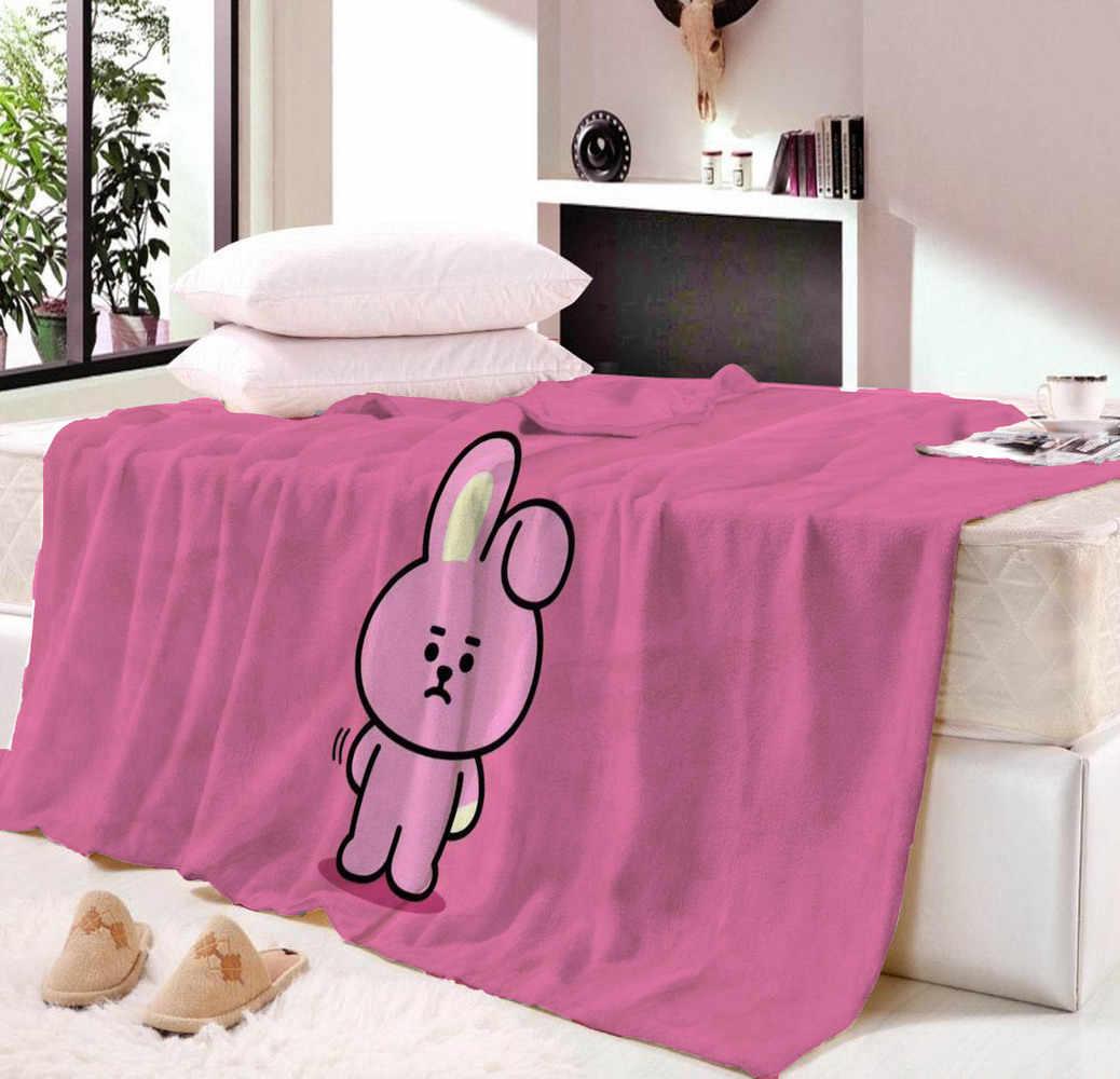 Bt21 Printing Family Blanket For Kids Bts Microfiber Juric Plush Sherpa Throw On Bed Sofa