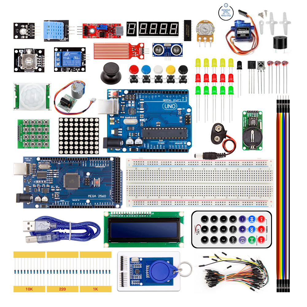 Super Starter Kit For Arduino UNO R3 & Mega2560 Board With Sensor Moudle 1602 LCD led Servo Motor Relay Learning Basic SuiteSuper Starter Kit For Arduino UNO R3 & Mega2560 Board With Sensor Moudle 1602 LCD led Servo Motor Relay Learning Basic Suite
