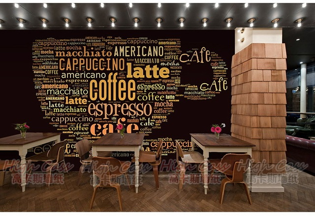 Casual Station TV Wall Wallpaper Living Room Theme Cafe Coffee Cup Murals Photo