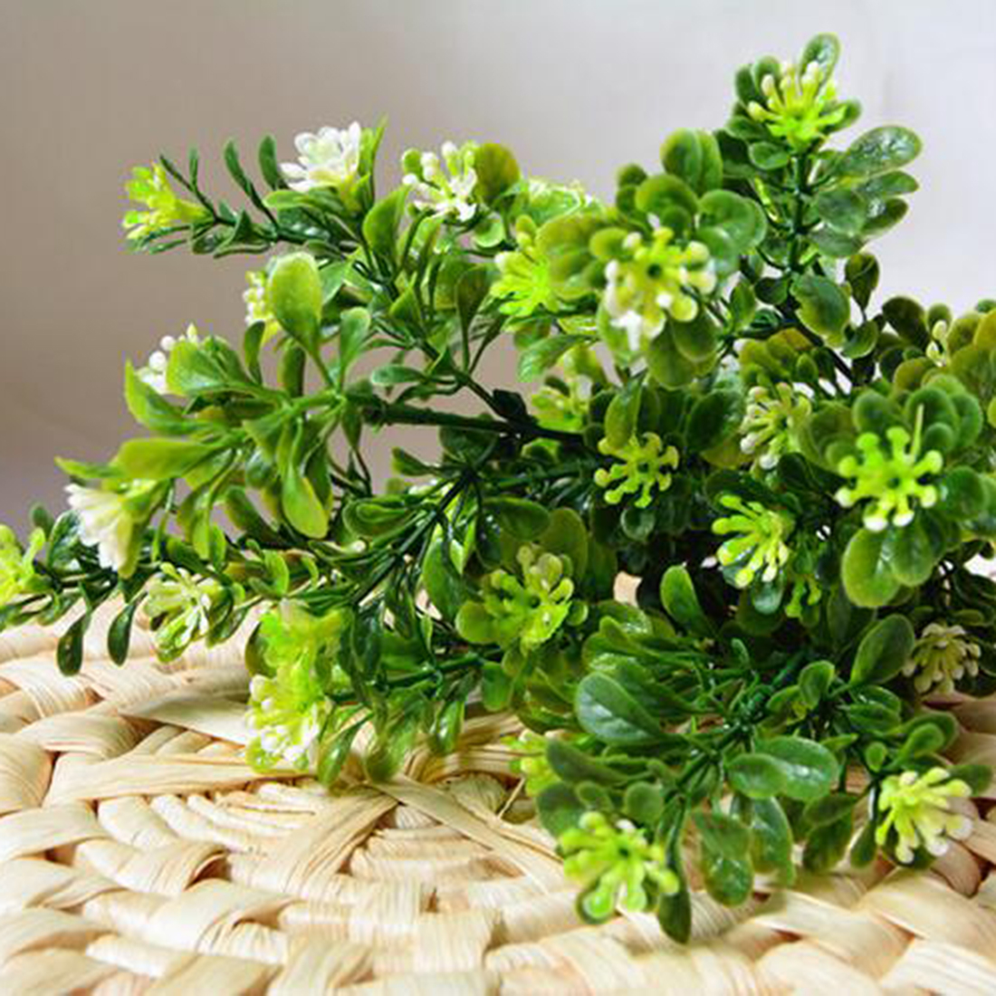 Hot 7 Branch/Bouquet 35 Heads Artificial Green Plant Fake Milan Grass Bonsai Decoration Leaf Corner Lawn Decoration