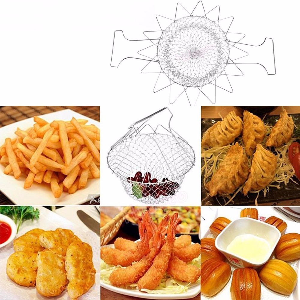 Fry french chef basket foldable steam rinse strain magic stainless steel strainer net basket for kitchen cooking gift-3
