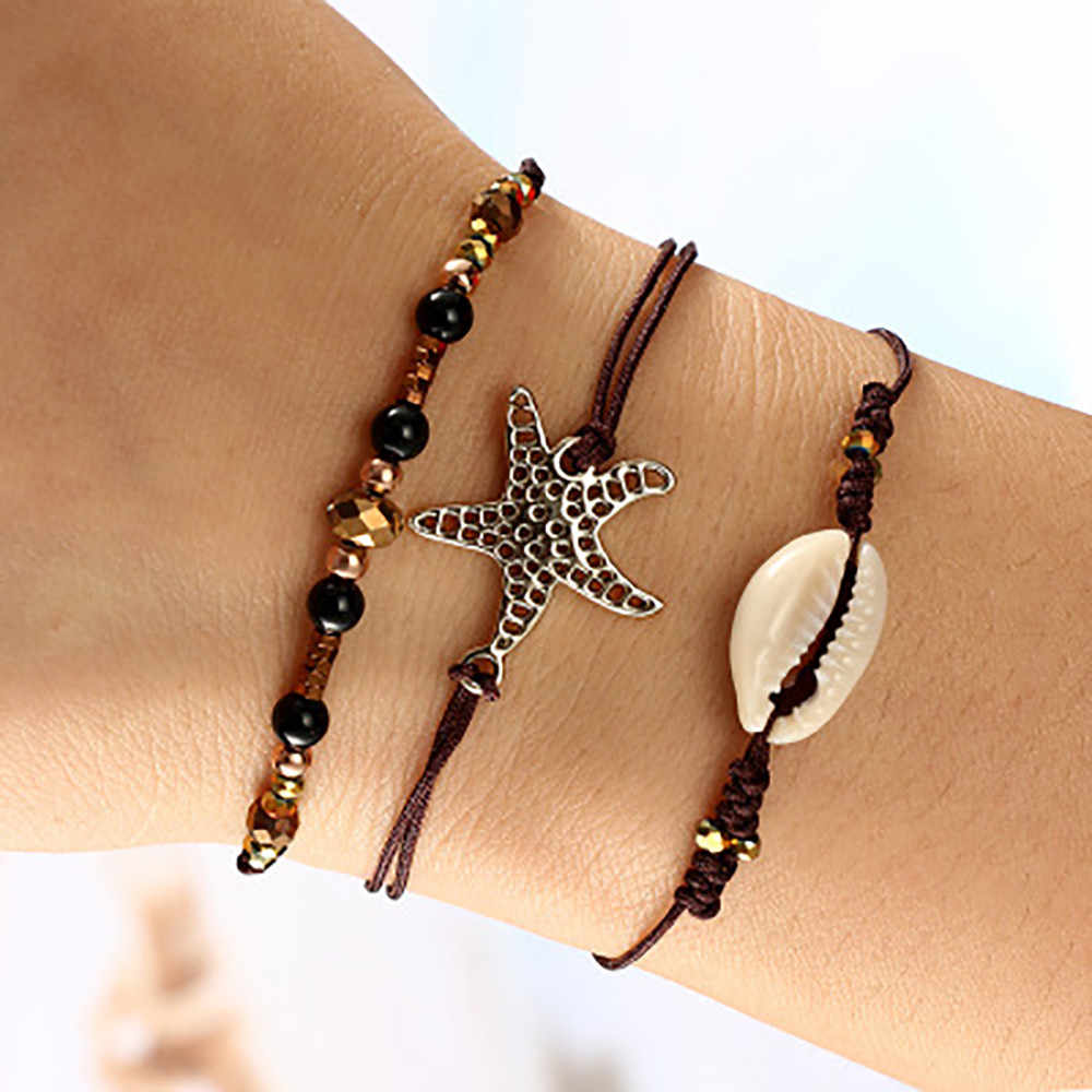 3pcs/set Women Beach Wind Creative Starfish Shell Beaded Bracelet Set Wire Rope Bracelets for Women Jewelry Bijoux Drop Ship