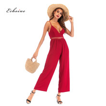Echoine Sexy Spaghetti Strap Maxi Jumpsuit Women Sleeveless Bow Knot Back Mid Waist Hollow Out Long Wide Leg Pants Romper Clothe